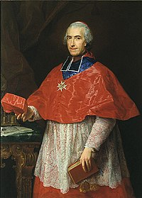 The Cardinal de Rochechouart (Jean François Joseph de Rochechouart) wearing the Sash of the Order of the Holy Spirit in 1762 by Pompeo Batoni.jpg