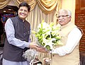 The Chief Minister of Haryana, Shri Manohar Lal Khattar meeting the Minister of State (Independent Charge) for Power, Coal and New and Renewable Energy, Shri Piyush Goyal, in New Delhi on August 12, 2015.jpg