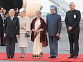 The Emperor of Japan, His Majesty Akihito and the Empress of Japan, Her Majesty Michiko with the Prime Minister, Dr. Manmohan Singh, his wife Smt. Gursharan Kaur and the Union Minister for External Affairs.jpg
