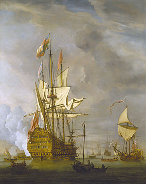 HMS Royal Sovereign (1701) - Image: The English Ship 'Royal Sovereign' With a Royal Yacht in a Light Air