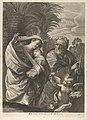 The Flight into Egypt; the Holy Family walking together, Saint Joseph pointing to the right and the Virgin carrying the infant Christ, an angel in front of her offering a flower, after Reni MET DP841323.jpg