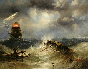 James Wilson Carmichael - Image: The Irwin Lighthouse, Storm Raging by John Wilson Carmichael