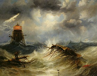 James Wilson Carmichael - Image: The Irwin Lighthouse, Storm Raging by John Wilson Carmichael
