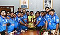 The Minister of State for Social Justice & Empowerment, Shri Ramdas Athawale felicitating the Divyang Cricket Team of India, in New Delhi on August 30, 2018.JPG