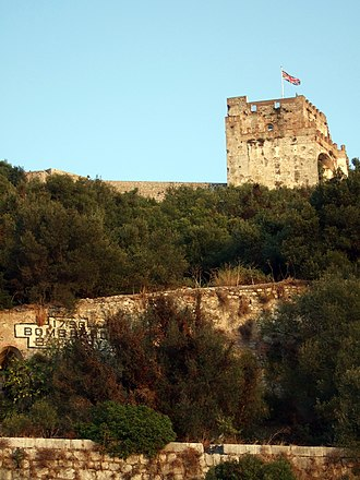 Moorish Castle - The Moorish Castle's Tower of Homage in Gibraltar flying the Union flag.