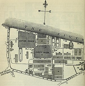 Woolwich Dockyard - The steam factory complex is just south of the Inner Basin.