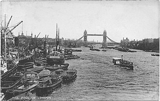 Pool of London - View of the Pool of London, River Thames, around 1938
