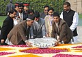 The President of Nepal, Dr. Ram Baran Yadav laying wreath at the Samadhi of Mahatma Gandhi, at Rajghat, in Delhi on February 16, 2010.jpg