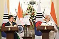 The Prime Minister, Shri Narendra Modi and the President of the Republic of South Korea, Mr. Moon Jae-in at the Joint Press Statement, at Hyderabad House, in New Delhi on July 10, 2018 (1).JPG