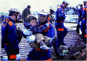 Riot Police Unit - TMPD SAR officers rescuing child during the 2011 Tōhoku earthquake relief mission.