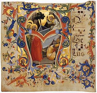 The Three Marys - Lorenzo Monaco, The Three Marys at the Tomb (manuscript illumination of a 1396 antiphonary)