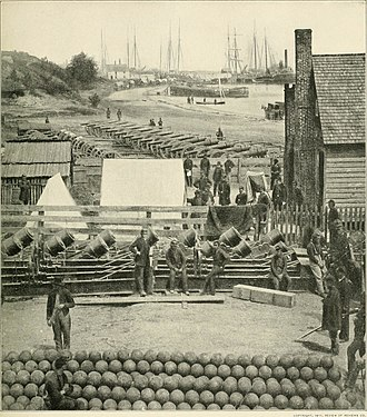 Siege of Yorktown (1862) - McClellan's guns and gunners near the lower wharf at Yorktown after the Confederate evacuation