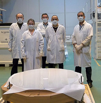Deformable mirror - Thin shell mirror for ESO's Very Large Telescope Adaptive Optics Facility. The shell is 1120 millimetres across but just 2 millimetres thick.