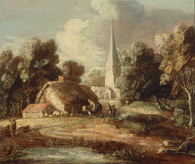 Landscape with cottage and church