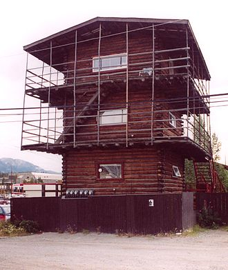 "Whitehorse, Yukon - A ""Three-storey log skyscraper"" in downtown area (July 2006). A national building code limits wood frame building heights to four storeys."