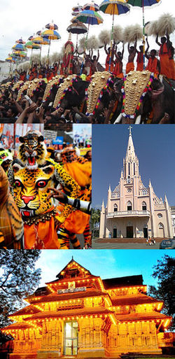 Clockwise from top: Thrissur Pooram, Our Lady of Lourdes Syro-Malabar Catholic Metropolitan Cathedral, Vadakkunnathan Temple, Puli Kali