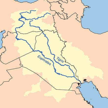 Map showing the Tigris-Euphrates river system, which surrounds Mesopotamia Tigr-euph.png