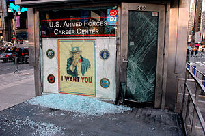 2008 Times Square bombing - The bomb shattered the window and door of the recruiting center
