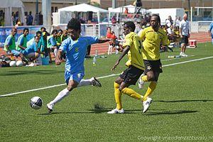 Tuvalu national football team - Okilani Tinilau in action against Vanuatu (2011)