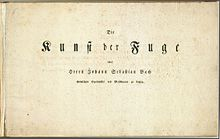 The Art of Fugue (title page) – Performed by Mehmet Okonsar on organ and harpsichord Nos.1–12 Nos.13–20 (Source: Wikimedia)