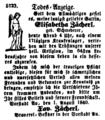 Todes-Anzeige Elisabetha Zächerl 1840 Bayerische Landbötin.png