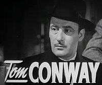Tom Conway elokuvan Grand Central Murder trailerissa