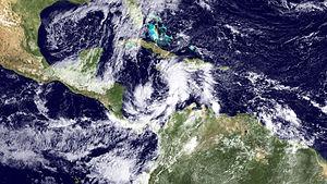 Hurricane Tomas - Tropical Storm Tomas reorganizing over the Caribbean Sea on November 4