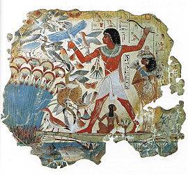 Room 61 - The famous false fresco 'Pond in a Garden' from the Tomb of Nebamun, c. 1350 BC TombofNebamun-2.jpg