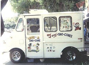 Snow cone - Snow cone vending truck in Arizona, with an unofficial image of Mickey Mouse and Minnie Mouse painted on the door, and an unofficial image of Mario painted on the upper-right corner.