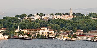 A view of Topkapi Palace from across the Golden Horn, with the Prince Islands in the background Topkapi - 01.jpg