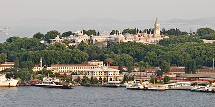 A view of Topkapı Palace from across the Golden Horn, with the Prince Islands in the background. Topkapı - 01.jpg