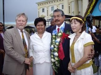 Johnson Toribiong - President Toribiong and his wife, First Lady Valeria Toribiong (both center), at his inauguration on 15 January 2009.