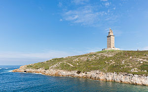 Lebor Gabála Érenn - Tower of Hercules (A Coruña, Galicia) rebuilt 2nd and 18th centuries: according to the Lebor Gabála Érenn, Breogán was the father of Ith, the leader of an expedition to Ireland from the Iberian Peninsula; from Breogán's Tower Ith first saw Ireland, 900 kilometres north