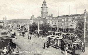 Trams in Ballarat - Electrified on Sturt Street near the Town Hall in 1917.