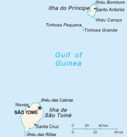 Map of São Tomé and Príncipe with Príncipe near the top