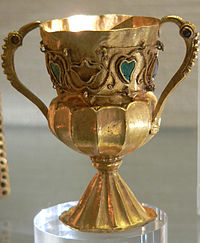 Chalice (c. 525) from the Treasure of Gourdon, perhaps a late Gallo-Roman piece, but displaying clear barbarian markers and influences.