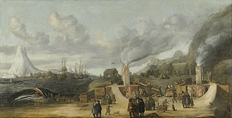 Svalbard - The whaling station of the Amsterdam chamber of the Northern Company in Smeerenburg, by Cornelis de Man (1639), but based on a painting of a Dansk hvalfangststation (Danish whaling station) by A.B.R. Speeck (1634), which represented the Danish station in Copenhagen Bay (Kobbefjorden).
