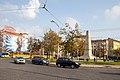 Tram in Sofia near Russian monument 049.jpg