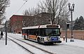 TriMet bus on NW 6th Ave during Feb 2014 snowstorm.jpg