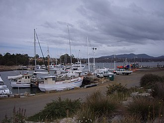 Triabunna - Triabunna with The Three Thumbs in the background