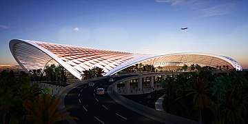 Trichy New international airport Terminal for road side view.jpg