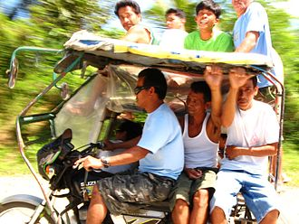 Motorized tricycle (Philippines) - With many passengers in Tagkawayan, Quezon