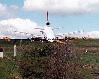 Leeds Bradford Airport - British Airtours Lockheed Tristar at end of runway 14, 1985