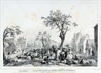 Paramaribo - 1830s lithograph of the market