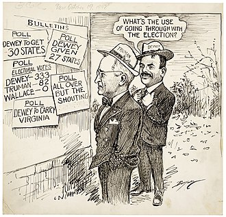 United States presidential election, 1948 - Clifford K. Berryman's editorial cartoon of Oct. 19, 1948, shows the consensus of experts in mid-October