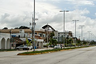 Tulum, Quintana Roo - The town of Tulum along Highway 307