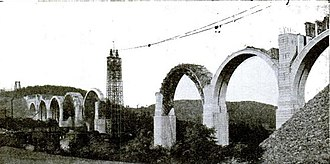 Tunkhannock Viaduct - Image: Tunkhannock Viaduct under construction 1914