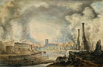 Great Fire of Turku - The Cathedral and the Academy building after the fire. Painting by Gustaf Wilhelm Finnberg