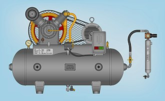 Compressed air - Two-stage air compressor assembled on a horizontal tank and equipped with a Joule-Thompson (JT) type refrigerated compressed air dryer
