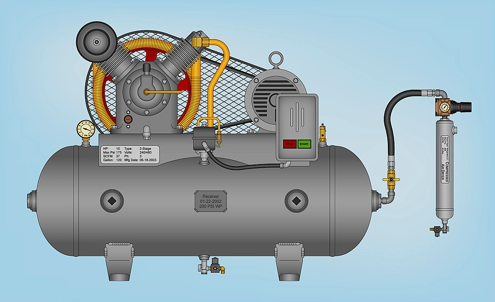 Two-stage air compressor assembled on a horizontal tank and equipped with a Joule-Thompson (JT) type refrigerated compressed air dryer